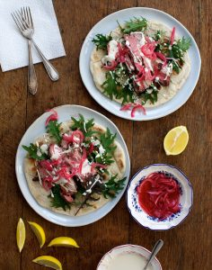 Roast Lamb Sandwiches with Tahini and Pickled Onions Image