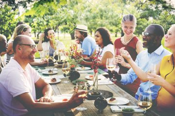 44467953 - friends friendship outdoor dining people concept