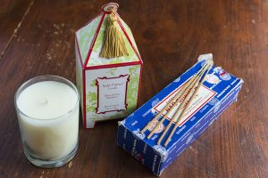 Seda France Candles (Malaysian Bamboo and Japanese Quince) + Satya Sai Baba Incense (Nag Champa) I need to be surrounded by candles or incense. Seda France candles burn for days on end.