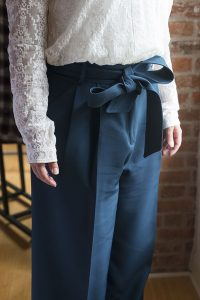 Milly Italian Cady Trapunto Tie-Waist Trousers The high-waist silhouette is going to explode this fall, which is great news because it's not only flattering, it's also a very comfortable fit.