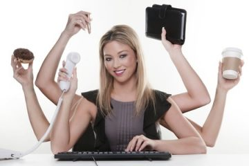 13189471 - woman with six arms multitasking her work and daily life